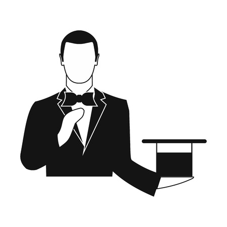 top black hat: Magician in a suit holding an empty top hat black simple icon Illustration