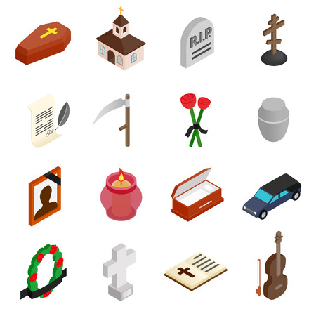 Funeral and burial isometric 3d icons set isolated on white background Illustration