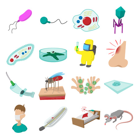 virus bacteria: Virus cartoon icons set isolated on white background Illustration