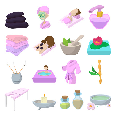 spa therapy: Spa cartoon icons set isolated on white background Illustration