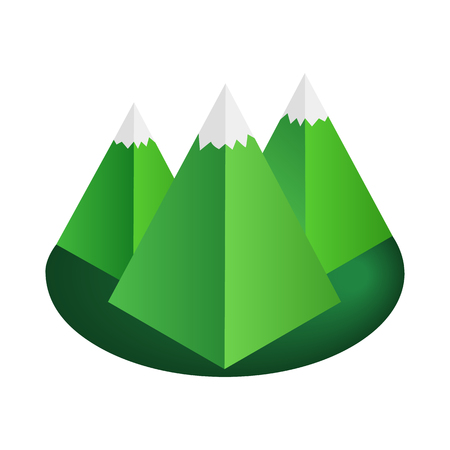 mountain silhouette: Mountain 3d isometric icon isolated on a white background