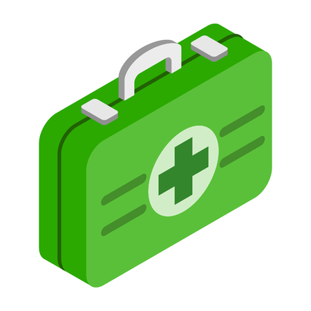 first aid kit: Botiqu�n de primeros auxilios icono isom�trico 3d aislado en un fondo blanco