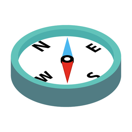 old compass: Compass 3d isometric icon isolated on a white background
