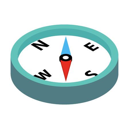 Compass isometrische 3D-Symbol auf einem weißen Hintergrund Vektorgrafik