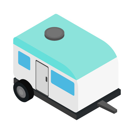 family outside house: Camping trailer 3d isometric icon isolated on a white background