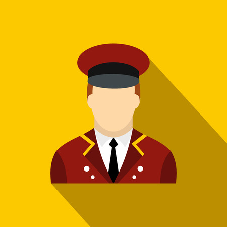 celebrities: Doorman flat icon on a yellow background with shadow