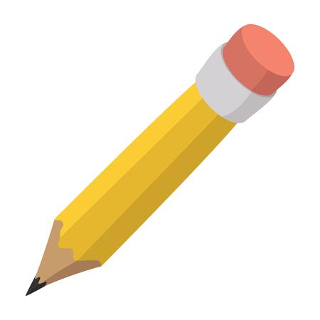 Lápis com ícone de desenho animado de borracha isolado em um fundo branco Foto de archivo - 50501423