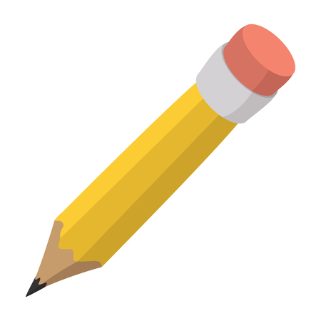 Pencil with eraser cartoon icon isolated on a white background