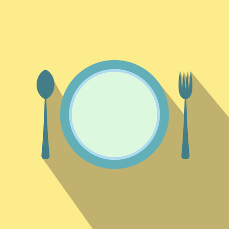 formal place setting: Cutlery set with plate flat icon on a beige background