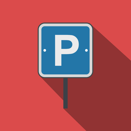 urban area: Parking traffic sign flat icon on a red background