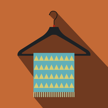 coathanger: Blue scarf on coat-hanger flat icon on a brown background