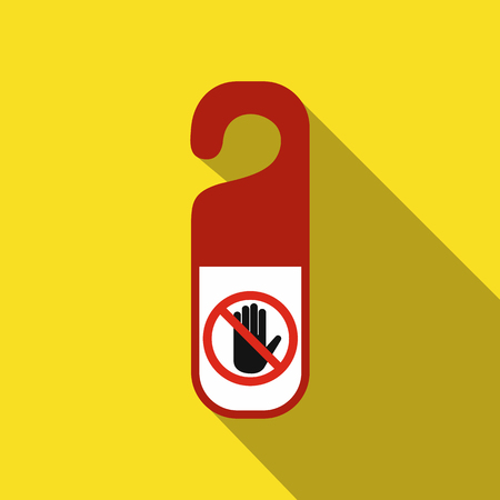 hangers: Do not disturb door hangers flat icon on a yellow background Illustration