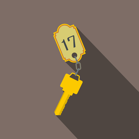 knickknack: Hotel key with a room number flat icon on a grey background Illustration