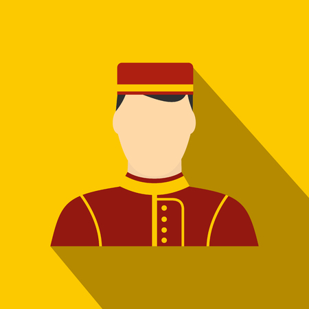 doorkeeper: Hotel bellman flat icon on a yellow background with shadow