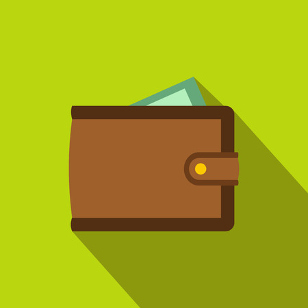 money wallet: Brown wallet with card and cash flat icon on a green background