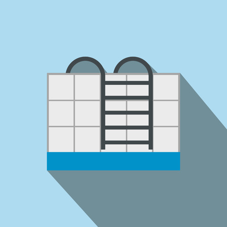 poolside: Stairs of the swimming pool flat icon on a light blue background Illustration