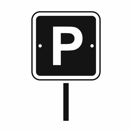 Parking traffic sign black simple icon isolated on white background