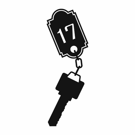 door key: Hotel key with a room number black simple icon