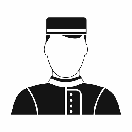 doorkeeper: Hotel bellman black simple icon isolated on white background