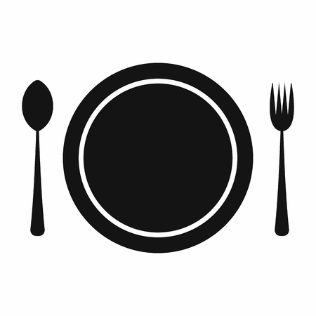 formal place setting: Cutlery set with plate black simple icon isolated on white background