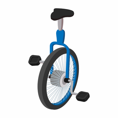 balancing act: Unicycle, one wheel bicycle cartoon on a white background Illustration