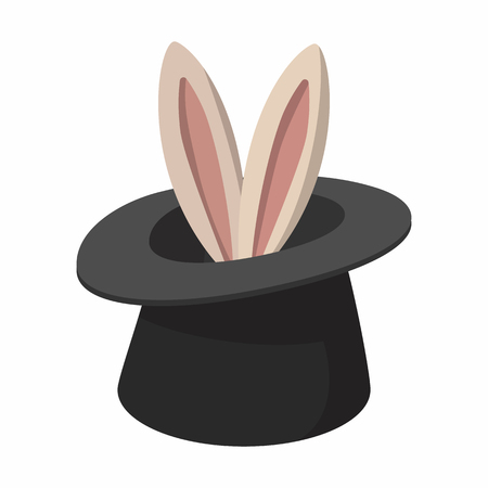 Conejo de dibujos animados que aparecen a partir de un sombrero mágico superior sobre un fondo blanco