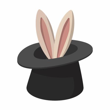 Kaninchen von einem Top-Tarnkappe Karikatur, die auf einem weißen Hintergrund