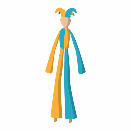 trinidadian: Clown on stilts cartoon on a white background Illustration