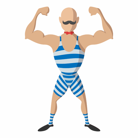 muscle guy: Strong man cartoon on a white  background