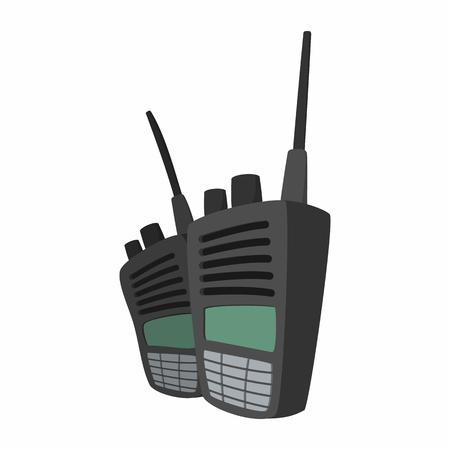 microfono de radio: 2 Conjunto de radio militar icono de dibujos animados. transmisor de radio de onda corta para el paintball en un blanco Vectores