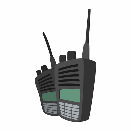 radio communication: 2 military radio set cartoon icon. Shortwave radio transmitter for paintball on a white Illustration