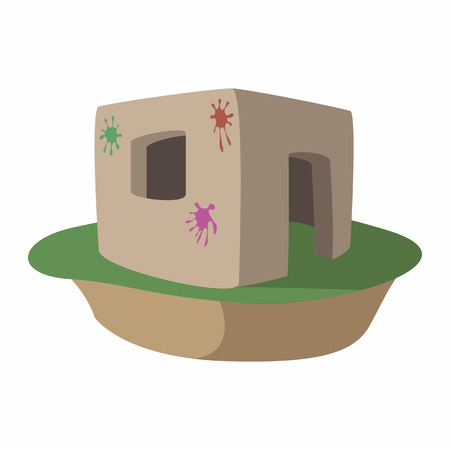 fortification: Paintball fortification with color splashes cartoon icon. Single symbol on a white background
