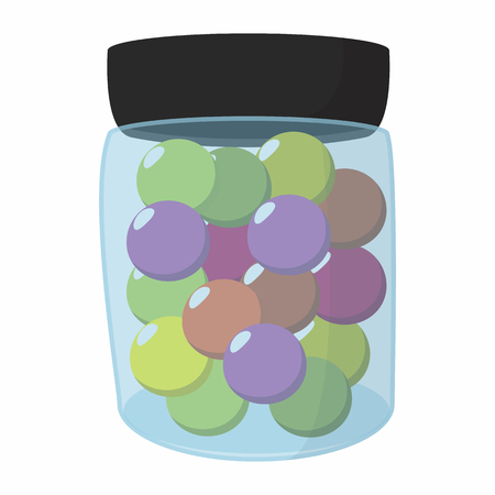 color balls: Paintball balls in a jar cartoon icon. Color balls in a container on a white background Illustration