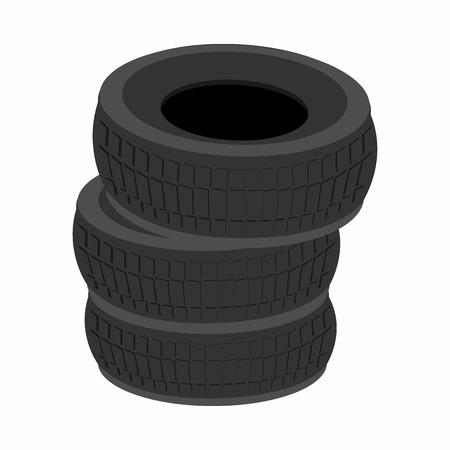 retreading: Pile of car tires cartoon icon isolated on white background Illustration