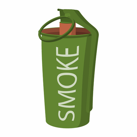 munition: Hand grenade - smoke bomb cartoon icon. Single paintball symbol on a white backgroundon Illustration