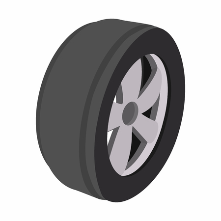 balck and white: Wheel cartoon illustration. Single balck and grey symbol on a white background