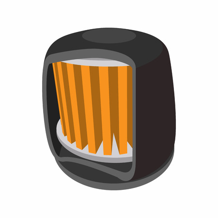 on air sign: Automotive filter cartoon icon. Single icon on white background