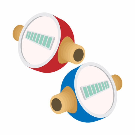 heating engineers: Water meters cartoon icon isolated on a white background Illustration