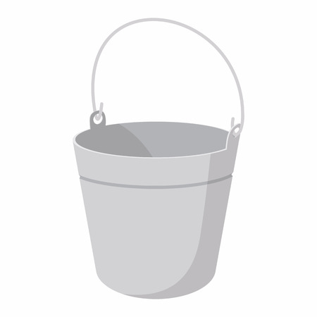 yard stick: Bucket cartoon icon isolated on a white background