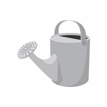 regando plantas: Regadera icono de dibujos animados aislado en un fondo blanco