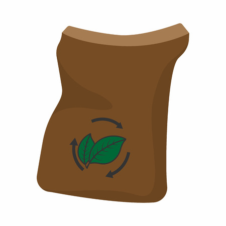 burlap bag: Bag of manure cartoon icon isolated on a white background