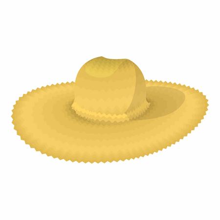 Straw icône de bande dessinée chapeau isolé sur un fond blanc