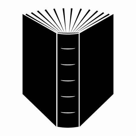 La fin du livre ouvert icône noire simple sur un fond blanc