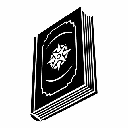literary: Book with eight-pointed star on the cover black simple icon on a white background