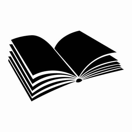 opened book: Opened book with pages fluttering black simple icon on a white background Illustration