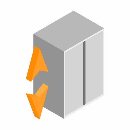 leaving: Elevator with a closed door isometric 3d icon on a white background