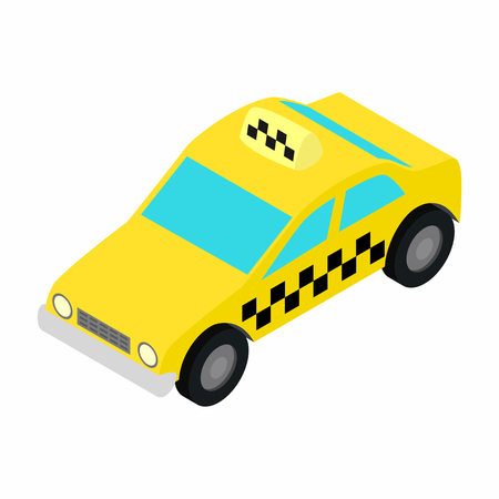fare: Taxi car isometric 3d icon on a white background