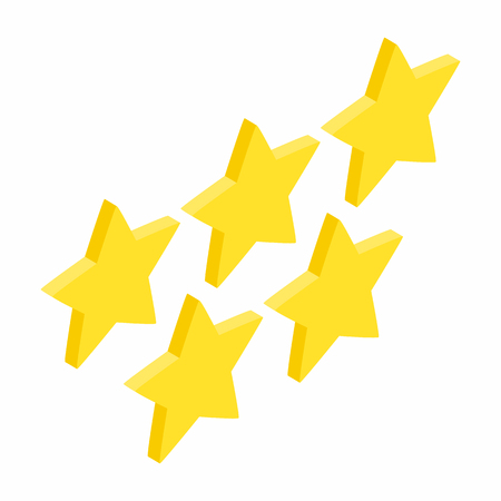 five stars: Five golden stars isometric 3d icon on a white  background Illustration