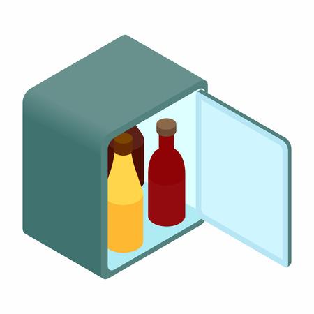 mini bar: Mini fridge isometric 3d icon on a white background Illustration