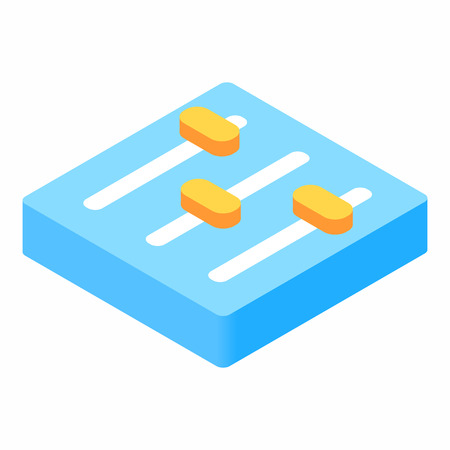 equalizer sliders: Equalizer button isometric 3d icon on a white background Illustration